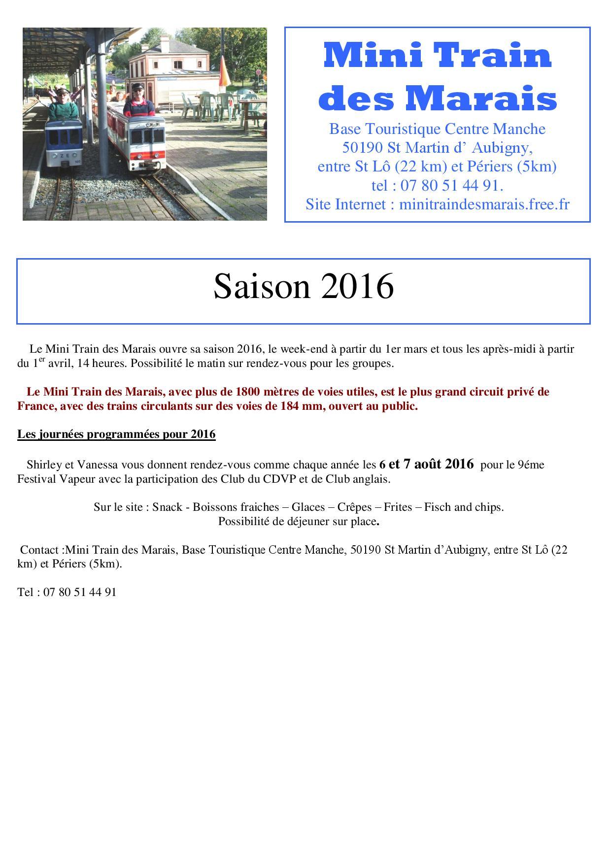 dép 50 - Mini train des Marais  Saison2016
